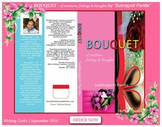 A post release promotion poster of my debut book,'Bouquet' from Writing Geeks.