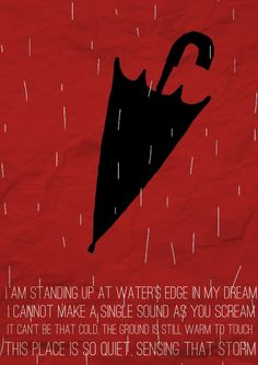 """I am standing up at the water's edge in my dream I cannot make a single sound as you scream. It can't be that cold, the ground is still warm to touch. This place is so quiet, sensing that storm. """"Red Rain"""", Peter Gabriel"""