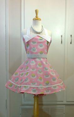 Pink Cupcake Retro Apron Sweetheart Apron Womens by enchiladamama, $39.50