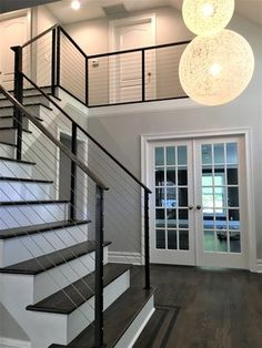 Modern cable railing Railing Design, Stair Railing, Railings, My Home Design, House Design, Stainless Steel Cable Railing, Stairways, Fixer Upper, Contemporary
