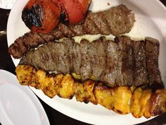 Selection of yummy Persian Kababs. Koubideh, Barg and chicken.