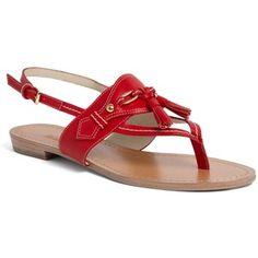 8e8c2d06eeb72 Brooks Brothers Spectator Calfskin Sandal Red Platform Shoes