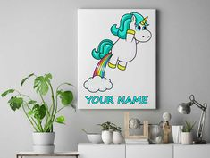 Funny Unicorn farting rainbow Personalized unicorn canvas wall decor for kids personalised unicorn canvas ready to hang on the wall picture by funkytshirtsfactory on Etsy Funny Unicorn, Unicorn Wall, Canvas Wall Decor, Canvas Home, Canvases, Picture Wall, Rainbow, Cool Stuff, Kids