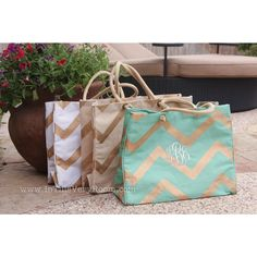 Monogrammed Chevron Stripes Jute Tote Bag - Personalized