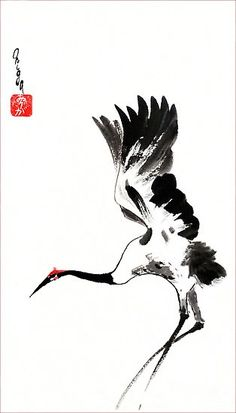 Sumi-e inspired wall art! Landing crane. Sumi E Painting, China Painting, Arte Occidental, Art Asiatique, Chinese Brush, Japanese Painting, Japanese Tattoo Art, Haiku, China Art