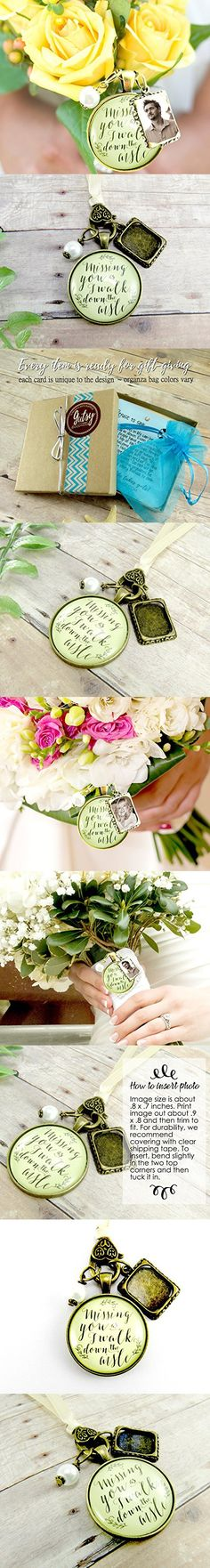 Missing You As I Walk Down the Aisle Wedding Bouquet Memory Charm, Bridal Pendant Memorial Remembrance Photo Jewelry