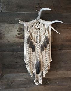 Antler macrame wall hanging on ring Macrame Wall Hanging Patterns, Macrame Hanging Planter, Macrame Plant Hangers, Macrame Patterns, Macrame Design, Macrame Art, Macrame Projects, Antler Crafts, Antler Art