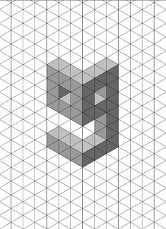 Letter d 3D shadow test isometric paper. This is