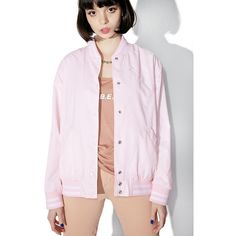 Obey Hooligans Varsity Bomber Jacket ($70) ❤ liked on Polyvore featuring outerwear, jackets, tops, button up jacket, button down jacket, college jacket, pink varsity jacket and stripe jacket