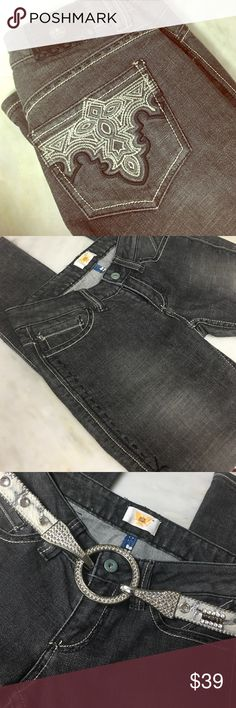 """NWOT ANTIK DENIM 'BLACKOUT' JEANS 🎱 These jeans ROCK! BRAND NEW, tags removed. 5 pocket. Skinny jeans, cotton blend, w/spandex for extra stretch. Black distressed. Inseam is approximately 30"""" with an approximately 5.5"""" ankle. Embellishments on back pockets, magnificent stitching on the front side thigh area. Awesome! Comes from a smoke free home 🏡 Bundle & save! Belt not included, but is for sale in My Closet 🎽 Antik Denim Jeans Skinny"""