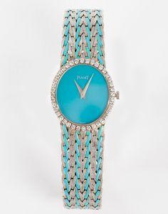 Montre Piaget vintage en or blanc, diamants et turquoise