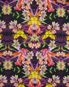 Mirrored flower print jersey from Truro Fabrics