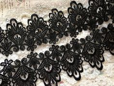 Black Lace Trim ,Vintage Rococo Lace, Crochet Lace, Black Venice Lace Trim on Etsy, $6.99