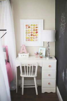 Toddler girl bedroom with chalkboard wall and vintage desk.
