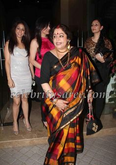 Kirron Kher in Multi Color Silk Saree | Saree Blouse Patterns