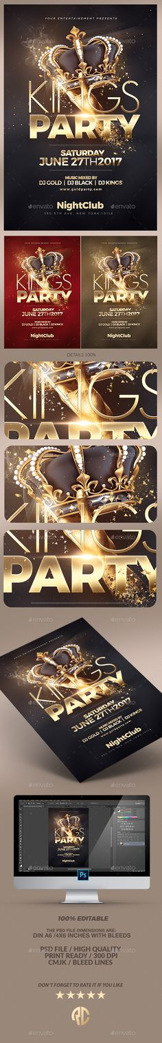 Night of Kings Party Flyer — PSD Template #kings #club flyer • Download ➝ https://graphicriver.net/item/night-of-kings-party-flyer/18271511?ref=pxcr
