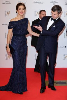 Crown Princess Mary arrives at the Bambi Awards in Berlin alongside her husband, Crown Prince Frederik.