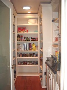 astonishing minimalist white corner walk in pantry design