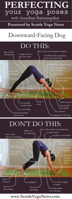 "Here's part 3 of our ""Do This Not That"" series - Downward-facing Dog yoga pose. Ready to perfect this asana?     Tags: yoga, infographic, asana, asanas, yoga pose, yoga poses, downward dog, downward facing dog"