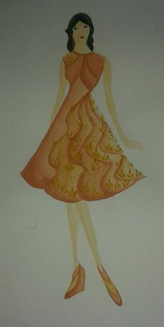 7th. The still same last task. I use an application fabric for it. #fashiondesign #dress #application