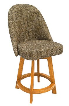 """Set of 2 Chromcraft 6 collection oak finish wood custom upholstered swivel counter height bar stools. This bar stool features a custom upholstered comfortable bucket seat with heavy frame and swivel.   This set is made to order custom upholstered seats and takes 8 -10 weeks in production.   Choose from the fabrics in the options menu, or email us for information. Bar stools measure approx 52"""" H x 24"""" W x 26"""" D. Some..."""