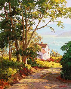 """Bayside Digs"" by Erin Dertner ~ 36 x 24 - Impressionist Original Oil painting of Bodega Bay, Northern California."
