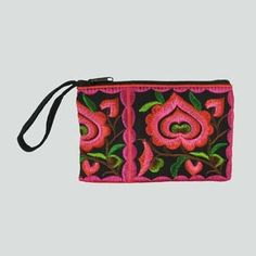 Carry your coins, crystals, or any tiny treasures in our Boho Heart flower zip wristlet.  This unique stash bag coin purse features bright and bold embroidery in the coolest of colors, to perfectly accent your brilliant boho style!