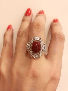 Stunning Red Coral Diamond Ring – Eyes Desire Gems and Jewelry Diamond Jewelry, Gold Jewelry, Jewelry Rings, Fine Jewelry, Tiffany Jewelry, Diamond Pendant, Gold Ring Designs, Schmuck Design, Modern Jewelry