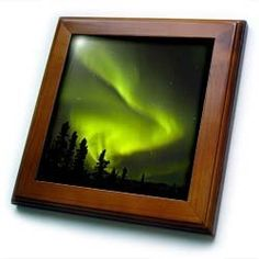 """Alaska, Hot Springs Aurora Borealis, Northern Lights - US02 SZU0001 - Sherry Zurey - 8x8 Framed Tile by 3dRose. $22.99. Keyhole in the back of frame allows for easy hanging.. Cherry Finish. Dimensions: 8"""" H x 8"""" W x 1/2"""" D. Solid wood frame. Inset high gloss 6"""" x 6"""" ceramic tile.. Alaska, Hot Springs Aurora Borealis, Northern Lights - US02 SZU0001 - Sherry Zurey Framed Tile is 8"""" x 8"""" with a 6"""" x 6"""" high gloss inset ceramic tile, surrounded by a solid wood frame with pre-..."""