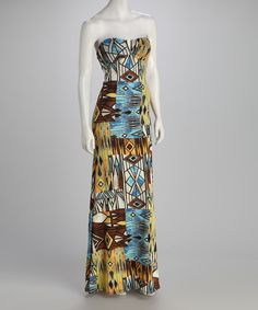Blue & Yellow Tribal Strapless Maxi Dress