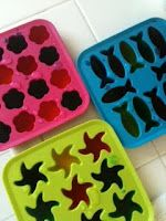 cool ice molds!---fun...put VERY little food coloring in them!