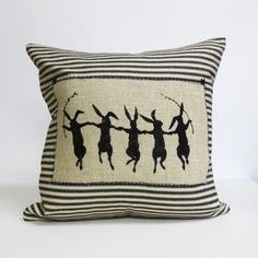 Rabbit Hand Print Pillow  Black and Ivory by ecarlateboutique