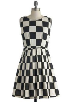 This reminds me of Jem & the Holograms at the Indy 500 lol - Room and Checkerboard Dress, #ModCloth