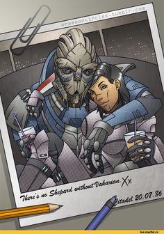 Mass Effect,фэндомы,ME art,Femshep,Garrus Vacarian