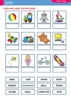 Toys (label the pictures) Language: English Grade/level: School subject: English as a Second Language (ESL) Main content: Toys Other contents: Grammar Activities, English Activities, Vocabulary Games, Interactive Activities, Class Activities, Pre K Worksheets, English Worksheets For Kids, Phonics Song, Alphabet Phonics