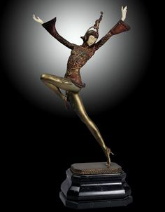 "An Art Deco chryselephantine sculpture ""Eastern Dancer"" by Gustav Schmidt-Cassel, Germany circa 1930."