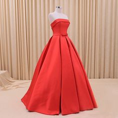 Cheap Simple Ball Gowns Wedding Dress Red Satin Bridal Gowns Bride Dresses