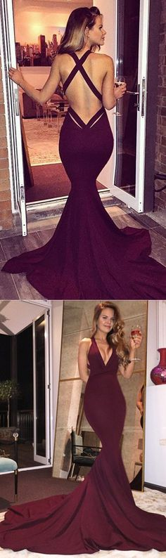 Long Prom Dresses, Satin Prom Dresses, Mermaid Party Dresses, Criss-Cross Straps Evening Dresses, Deep V-Neck Prom Dress, Backless Prom Dress, Prom Dress with Court Train, LB0569