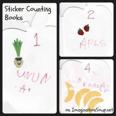 sticker counting books - perfect for beginning writers!