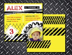 Childrens birthday invite, construction invite, kids invitations, yellow and black invite, birthday invitation, trucks, photo invite, custom by TheWrightInvite on Etsy https://www.etsy.com/listing/205373705/childrens-birthday-invite-construction