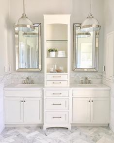 Bathroom Remodel Ashley 》Our Modern Antebellum ( Bathroom Vanity Designs, Bathroom Layout, Bathroom Ideas, Bathroom Vanities, Modern Master Bathroom, Small Bathroom, Bathroom Chrome, Master Bedroom, Bathroom Hardware