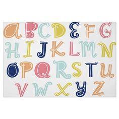Curly color block alphabet