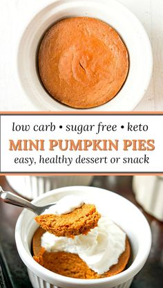 Mini Low Carb Pumpkin Pie Recipe for an Easy Pumpkin Dessert! Mini Low Carb P. Mini Low Carb Pumpkin Pie Recipe for an Easy Pumpkin Dessert! Mini Low Carb Pumpkin Pie Recipe for an Easy Pumpkin Dessert! Sugar Free Pumpkin Pie, Low Carb Pumpkin Pie, Mini Pumpkin Pies, Pumpkin Pie Cupcakes, Mini Pies, Pumpkin Cream Pie, Gluten Free Pumpkin, Pumpkin Puree, Sugar Free Desserts