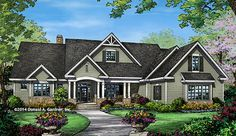The Travis Plan 1350 This Craftsman ranch has a 3 car garage, walk-in closets, extra utility space, and open living areas