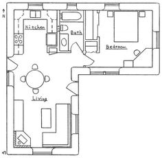 Contemporary Cottage House Plans - Tiny L-shaped House Floor Plans Small House Floor Plans, House Plans One Story, Small House Plans Under 1000 Sq Ft, Story House, Small Room Design, Tiny House Design, L Shaped House Plans, L Shaped Tiny House, Cottage Plan