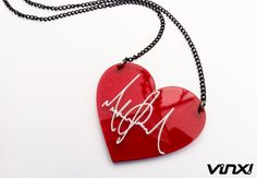 MJ autographed heart necklace