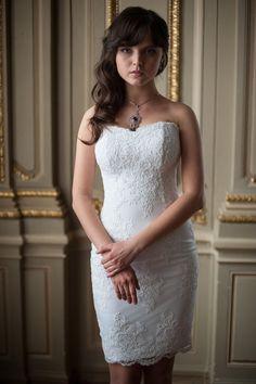 Fitted Style Lace Short Wedding Dress by ApilatCreativeAtelie, $530.00