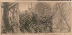 """Giganti e pigmei. Studio per """"la città  che sale"""". 1913. GAM. Torino."""