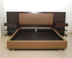 Modern King Platform Bed Frame Built In Side Table And Height Headboard With King Size Bed Frames Plus King Bed Headboard Bed Frame Design, Bedroom Bed Design, Bedroom Furniture Design, Bed Furniture, Bed Headboard Design, Master Bedroom, Modern King Bed Frame, King Platform Bed Frame, King Size Bed Frame