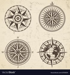 Set of vintage antique wind rose nautical compass vector image on VectorStock Compass Vector, Map Compass, Nautical Compass, Compass Design, Compass Rose, Vintage Compass Tattoo, Arming Sword, Compass Drawing, Pirate Tattoo